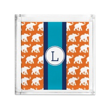 Lucite Tray Petite - Elephants Ribbon in Orange