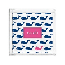 Lucite Tray Petite - Whale Repeat Navy