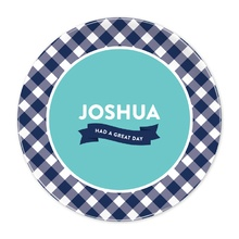 Navy Gingham Great Day Plate®