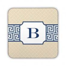 Greek Key Band Navy Corkback Coaster