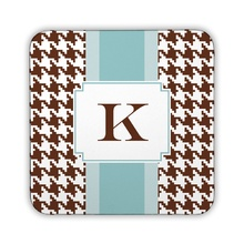 Alex Houndstooth Chocolate Corkback Coaster