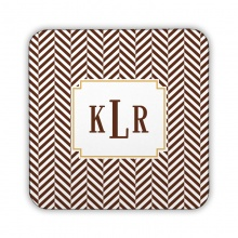 Herringbone Chocolate Corkback Coaster