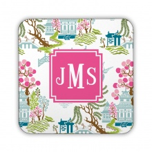 Chinoiserie Spring Corkback Coaster