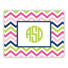 Chevron Pink Navy Lime