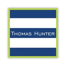 Stripe Navy with Lime Border