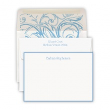Hand Bordered Soft Blue Cards