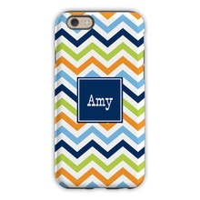 Chevron Blue, Orange & Lime