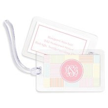 Bag Tags (set of 4) - Seersucker Patch Light Pink