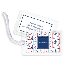 Bag Tags (set of 4) - Happy Anchors Blue