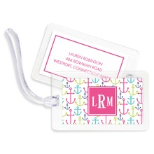 Bag Tags (set of 4) - Happy Anchors Pink