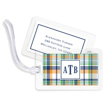 Bag Tags (set of 4) - Classic Madras Plaid Navy & Orange