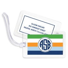 Bag Tags (set of 4) - Bold Stripe Navy Orange & Kelly