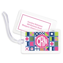 Bag Tags (set of 4) - Nautical Flags Pink