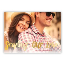 5x7 Flat Photocard - Sending Our Love - Faux Foil
