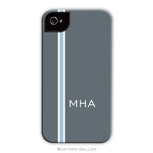 Sleek Cell Phone Case - Racing Stripe Charcoal and Lt. Blue