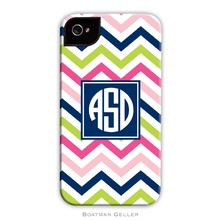 Sleek Cell Phone Case - Chevron Pink, Navy and Lime
