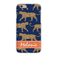 Sleek Cell Phone Case - Leopard Navy