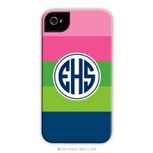 Tough Cell Phone Case - Bold Stripe Pink, Green and Navy