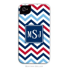 Tough Cell Phone Case - Chevron Blue and Red